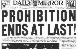 Photo: Newspaper headline of Prohibition Ends