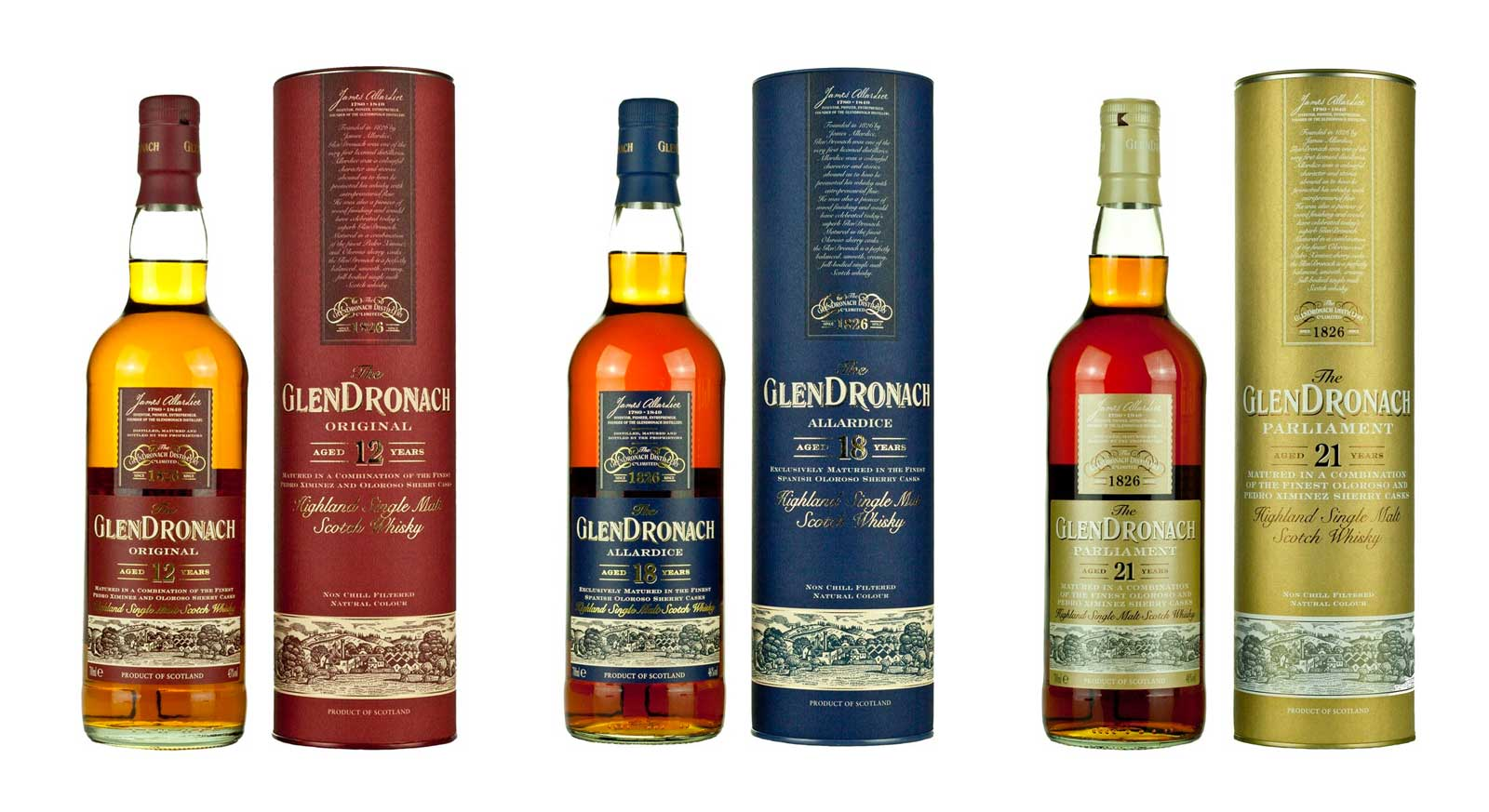 The GlenDronach Single Malt Scotch Whiskies