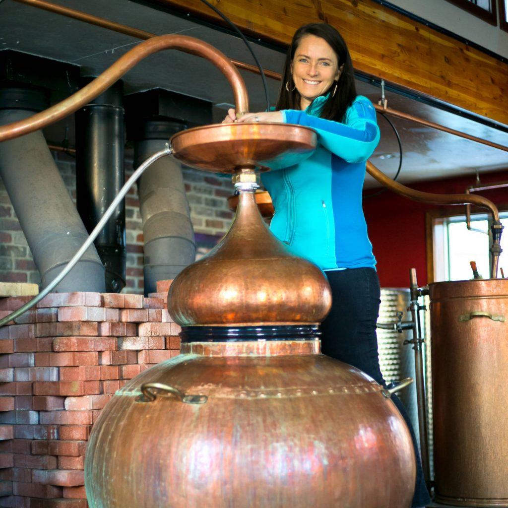 Karen Hoskin, distilling Montanya Rum