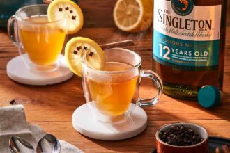 hot toddy with lemon wheel