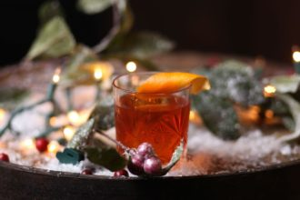 old fashioned with orange peel garnish