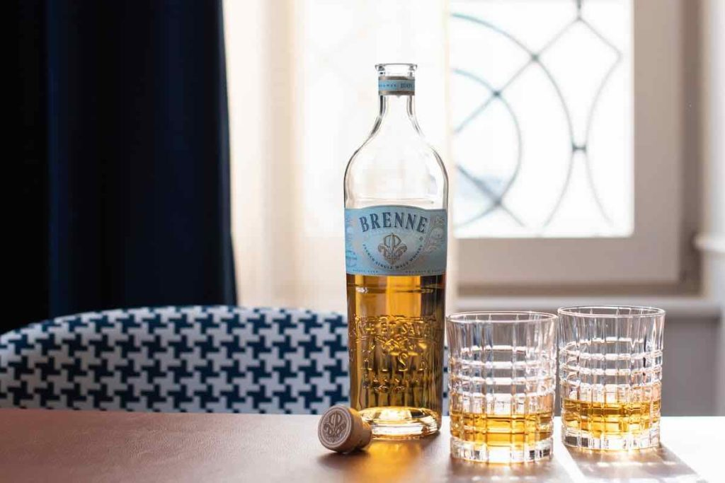 brenne french whisky with two glasses