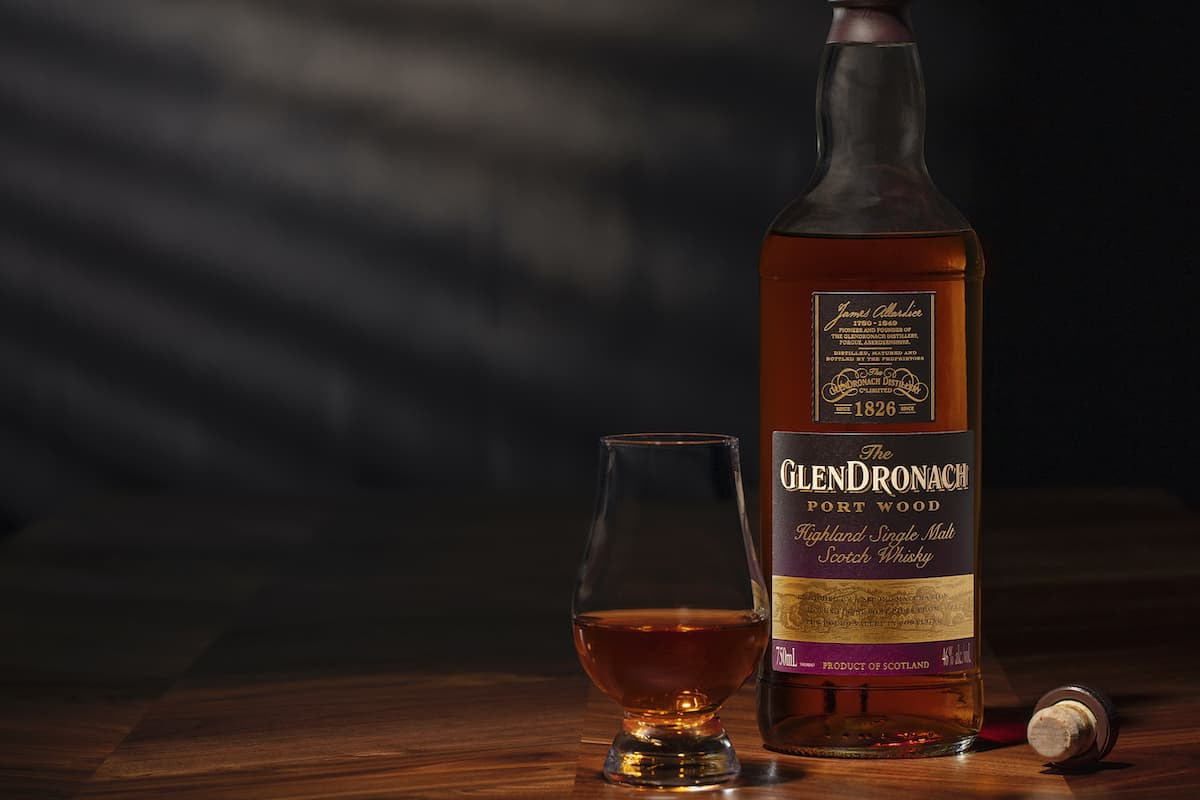 glendronach port wood bottle with glass