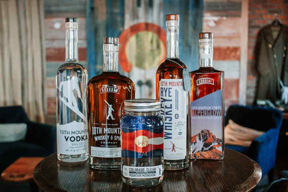 10th Mountain Whiskey & Spirits Company whiskeys and vodka
