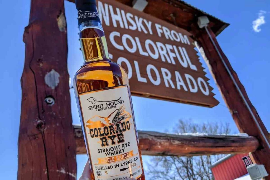 a bottle of Spirit Hound Distillers colorado rye whiskey