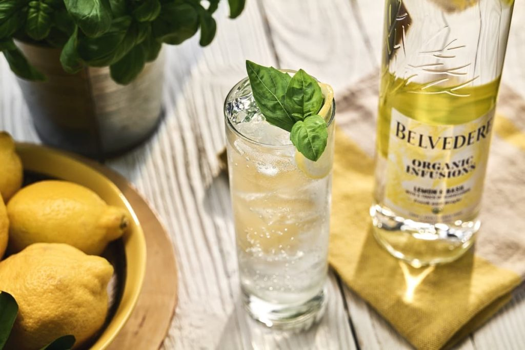 belvedere organic infusions cocktail with basil and lemons