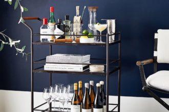 bar cart with bottles