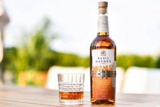 Basil Hayden Toast bourbon bottle with glass