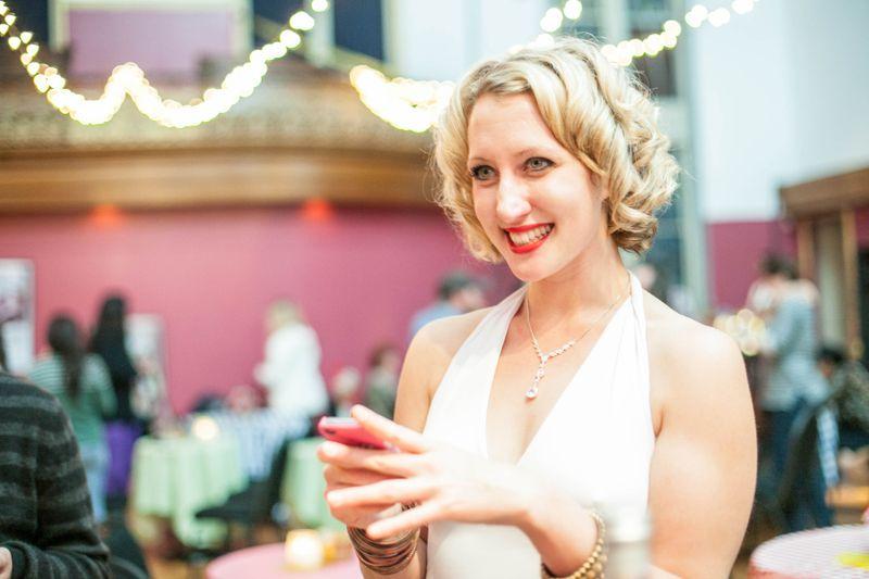 Kirsten Amann in a white dress
