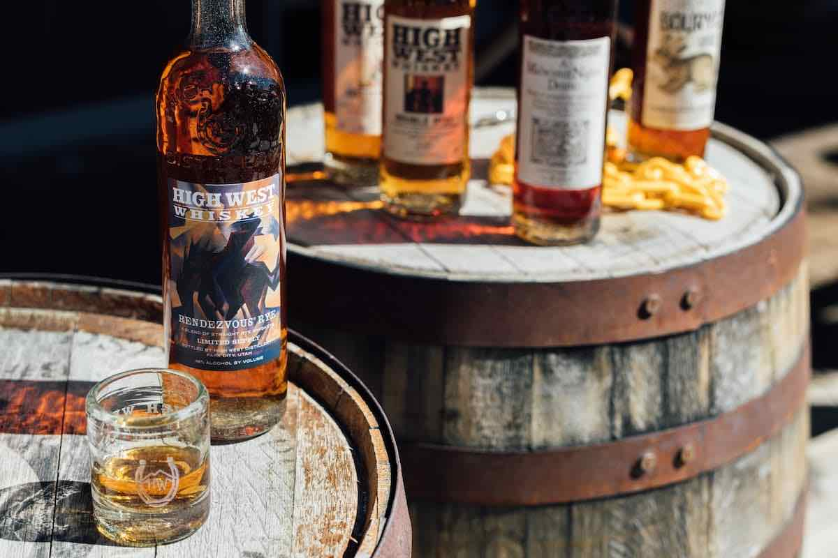 High West Rendezvous Rye on a whiskey barrel
